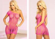 Pink félvállas, hálós miniruha, mely kiemeli szexi vonalaid! S/M T