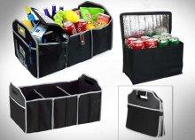 Összecsukható, tartós anyagból készült, több rekeszes autós tároló, egy darab hűtőrekesszel, fekete színben