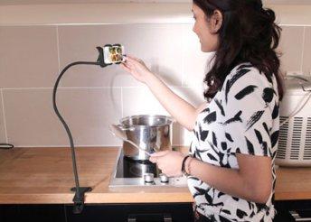 Élvezd a főzés minden pillanatát: univerzális, asztalra csíptethető telefontartó, bármely mobilhoz