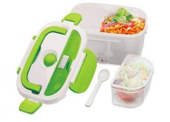 Elektromos melegen tartó ételhordó, mely nagyon praktikus, ütésálló és könnyen tisztítható