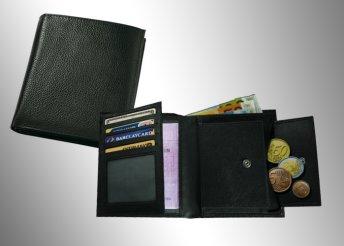 Unisex, valódi bőrből készült pénztárca fekete színben