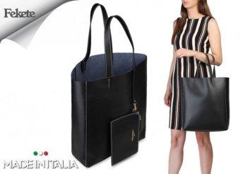 Made in Italia Amanda, márkajelzéssel díszített, női nagyméretű bevásárló táska fekete színben