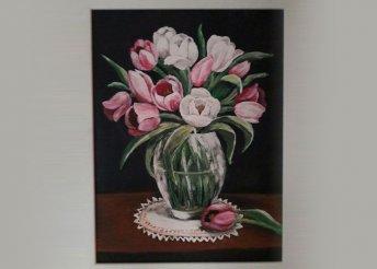 Tulipános akrilfestés farostra