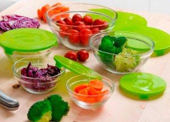 5 darab, praktikus konyhai üvegedény szett fedőkkel