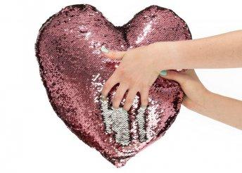 Szív alakú párna varázslatos flitteres huzattal