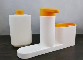 Konyhai szervező szappanos szivattyúval és palackkal