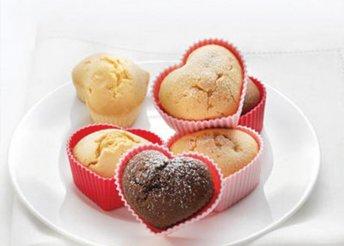 Szív alakú muffin sütőforma 6 darab