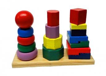 Készségfejlesztő fa Montessori torony