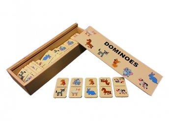 Klasszikus fa dominó játék állatos mintákkal