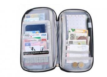 Utazásszervező iratoknak, kártyáknak, pénznek