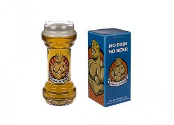Súlyzó alakú sörös üvegpohár
