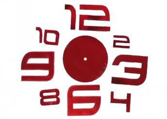 Ragasztható tükrös falióra - piros