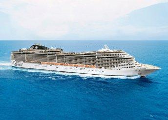 Földközi-tengeri hajóút az MSC Splendida fedélzetén, kiutazással, idegenvezetéssel, a hajón teljes ellátással