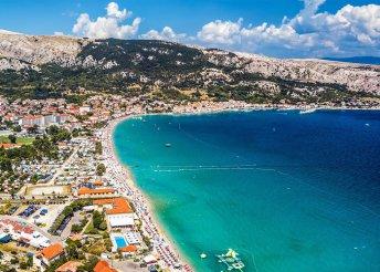 1 napos strandolás az Adriai-tenger partján, Krk-szigeten, Baska városkájában, buszos utazással