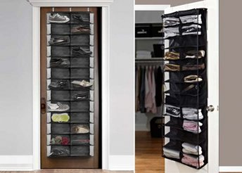 Tárold egy helyen a dolgaid! Egyszerűen az ajtóra szerelhető, fekete színű cipőtároló, 26 rekesszel