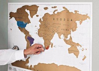 Egyedi, kaparós térkép világutazóknak