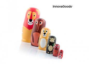 11 darabos fából készült Matryoshka állati figurákkal