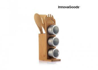 Mágneses fűszertartó készlet bambusz edényekkel Bamsa InnovaGoods 7 Darabos Kitchen Foodies