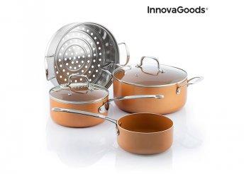 InnovaGoods Kitchen Cookware Copper-Effect konyhai edények gőzölővel(6 db)