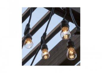 Vízálló dekor égősor, 15 db E27 LED lámpával - 14,6 m - melegfehér
