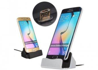 Micro USB asztali töltő, ezüst