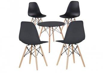 4 db modern étkezőszék asztallal - fekete