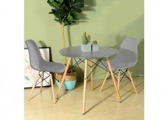 4 db modern étkezőszék asztallal - szürke