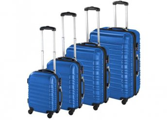 4 db-os merev falú bőrönd szett - kék