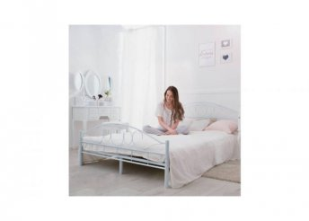Fém ágykeret ajándék ágyráccsal - fehér - 140 cm széles
