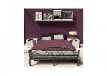 Fém ágykeret ajándék ágyráccsal - fekete - 160 x 200 cm