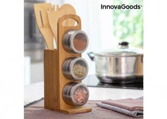 Mágneses fűszertartó készlet bambusz edényekkel Bamsa InnovaGoods 7 Darabos