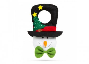 Karácsonyi kilincs dekor - hóember fekete kalapban