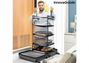 Összecsukható, hordozható, polcos egység a poggyász szervezéséhez