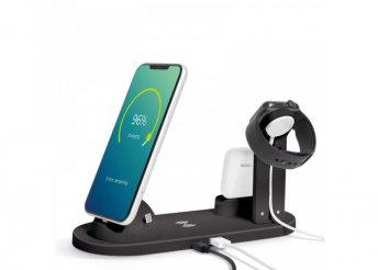 Vezeték nélküli töltőállomás - Mobiltelefonokhoz, órákhoz, fülhallgatókhoz - fekete