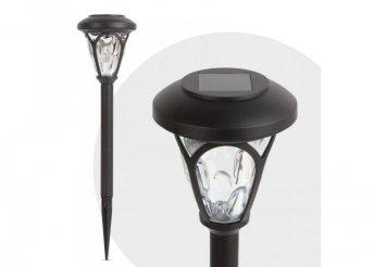LED-es szolár lámpa - leszúrható, mintás plexivel - fekete - 300 mm
